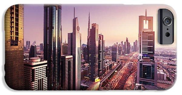 Office Buildings iPhone 6s Case - Dubai Skyline In Sunset Time, United by Iakov Kalinin