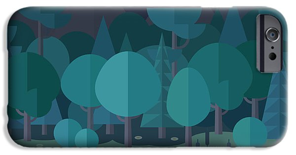 Space iPhone 6s Case - Forest Landscape In A Flat Style In The by Art.tkach