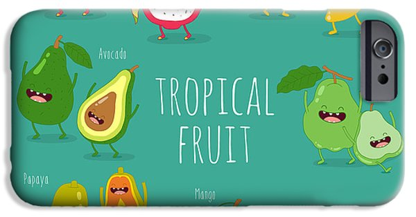 Smoothie iPhone 6s Case - Funny Tropical Fruits. Guava, Papaya by Serbinka