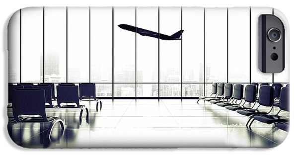 Office Buildings iPhone 6s Case - Futuristic Airport And Big Airliner In by Peshkova