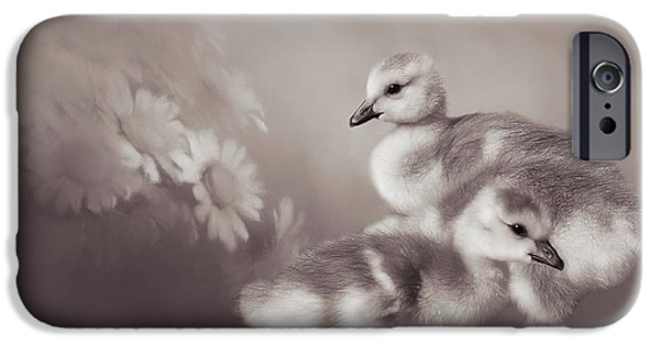 Gosling iPhone 6s Case - Goslings And Daisies - Sepia by Donna Kennedy