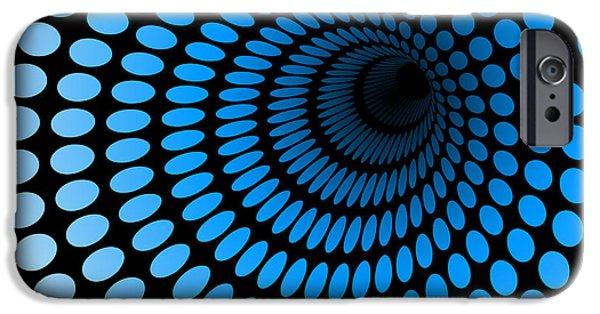 Space iPhone 6s Case - Hi Tech Blue Tunnel, Digital Dynamic by Artcalin