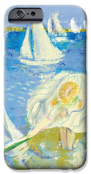 Sailboat iPhone 6s Case - Image Of A Little Girl Who Plays On The by Dmitriip