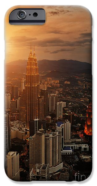 Office Buildings iPhone 6s Case - Kuala Lumpur Sunset Scene With Petronas by Vitaly Titov