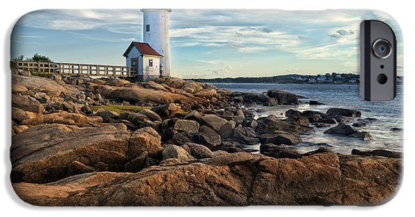 New England Coast iPhone 6s Case - Lighthouse At Sunset Off Annisquam by Christian Delbert