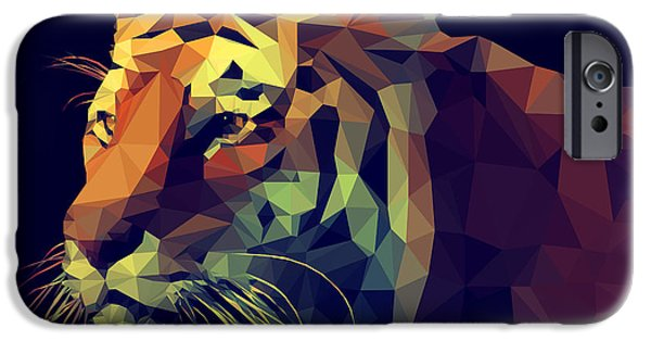 Space iPhone 6s Case - Low Poly Design. Tiger Illustration by Kundra