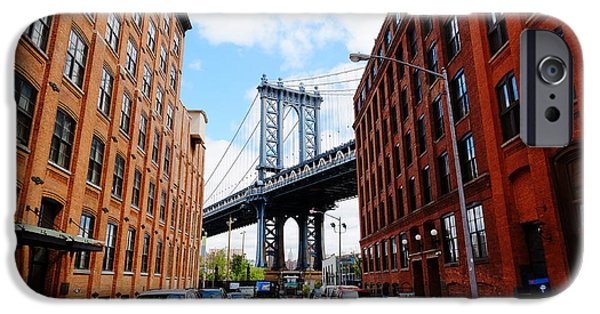 Office Buildings iPhone 6s Case - Manhattan Bridge Seen From A Red Brick by Youproduction