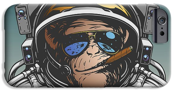 Space iPhone 6s Case - Monkey Astronaut Illustration by D1sk