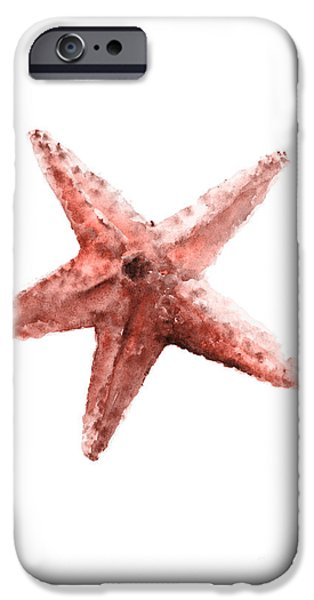 Scuba Diving iPhone 6s Case - Orange Coral Starfish Watercolor by Joanna Szmerdt