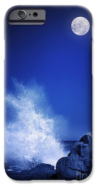 Space iPhone 6s Case - Rising Moon Over Rocky Coastline At by Johan Swanepoel