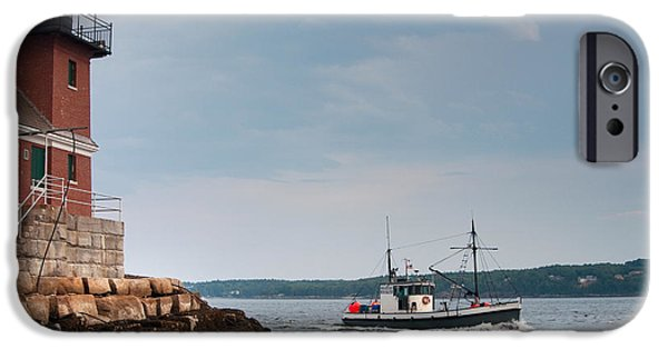 New England Coast iPhone 6s Case - Rockland Breakwater Lighthouse Guards by Allan Wood Photography