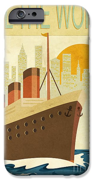 Cruise Ship iPhone 6s Case - Sail The World - Vintage Poster With by Lanan