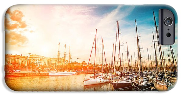 Sailboat iPhone 6s Case - Sea Bay With Yachts At Sunset by In Green