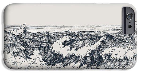 Space iPhone 6s Case - Sea Or Ocean Waves Drawing. Sea View by Danussa