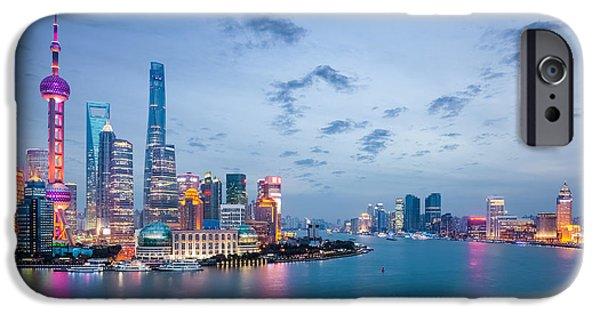 Office Buildings iPhone 6s Case - Shanghai In Nightfall, Beautiful by Chuyuss