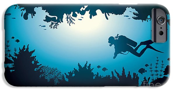 Scuba Diver iPhone 6s Case - Silhouette Of Scuba Diver And Coral by Natali Snailcat