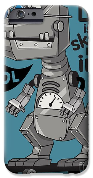 Space iPhone 6s Case - Skater, Robot Dino Vector Design by Braingraph