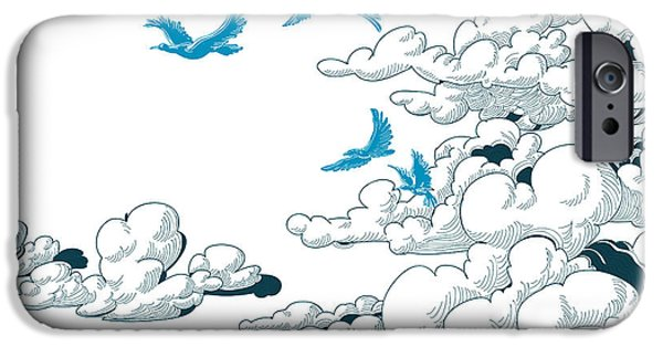 Space iPhone 6s Case - Sky Background, Clouds And Blue Birds by Danussa