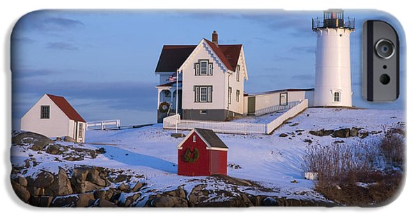 New England Coast iPhone 6s Case - Snow Covered Lighthouse During Holiday by Allan Wood Photography