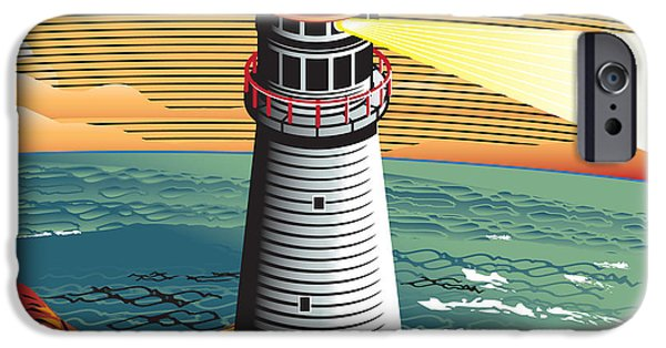 New England Coast iPhone 6s Case - Summer Point Lighthouse by Bigredlynx