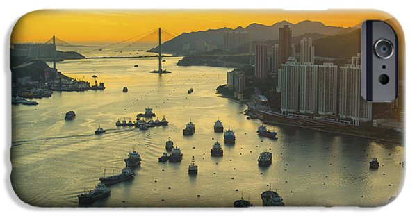 Office Buildings iPhone 6s Case - Sunset At Hong Kong Downtown by Coloursinmylife