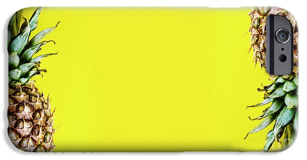 Smoothie iPhone 6s Case - Top View Of Pineapple Border On Bright Yellow Background. Vivid  by Jelena Jovanovic