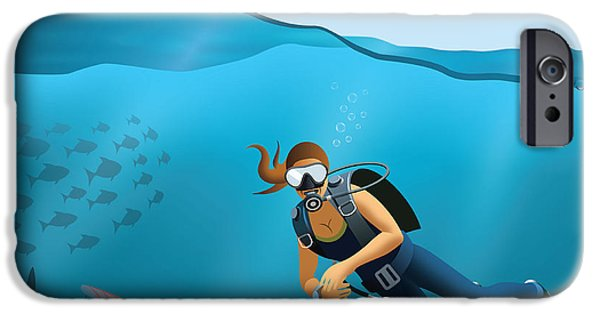 Scuba Diver iPhone 6s Case - Underwater World And Diving Scene by Nikola Knezevic