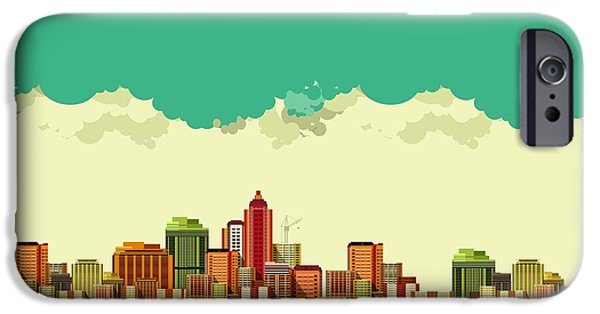 Office Buildings iPhone 6s Case - Vector Illustration Big City Panoramic by Marrishuanna