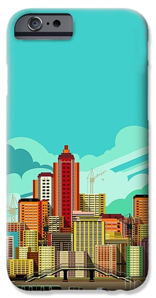 Office Buildings iPhone 6s Case - Vector Illustration Fluorescent Image by Marrishuanna