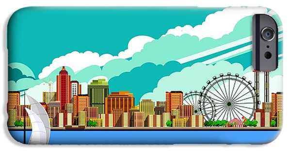 Office Buildings iPhone 6s Case - Vector Illustration Promenade Ride A by Marrishuanna