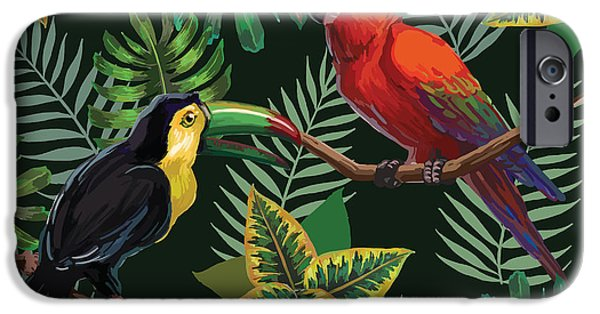 Scarlet iPhone 6s Case - Vector Painting With Tropical Birds And by Julial