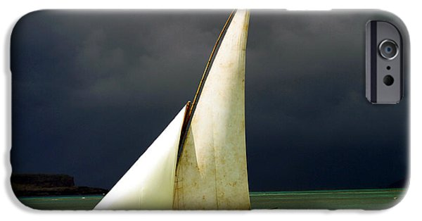 Sailboat iPhone 6s Case - White Sailed Pirogue On The Ocean by Paul Banton