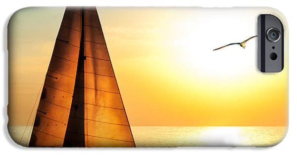 Sailboat iPhone 6s Case - Yacht Sailing Against Sunset. Holiday by Repina Valeriya