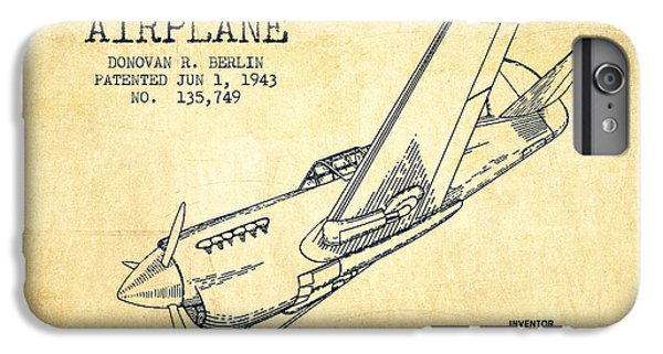 Airplane iPhone 6s Plus Case - Airplane Patent Drawing From 1943-vintage by Aged Pixel