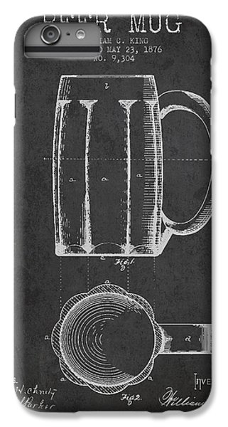 Bar iPhone 6s Plus Case - Beer Mug Patent From 1876 - Dark by Aged Pixel