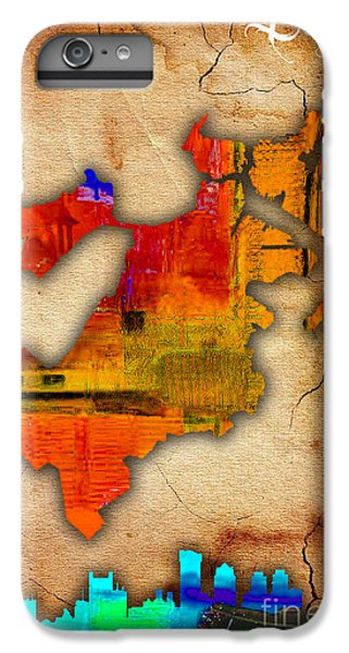 Boston Map And Skyline Watercolor IPhone 6s Plus Case by Marvin Blaine