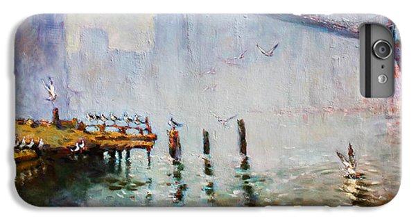 Seagull iPhone 6s Plus Case - Brooklyn Bridge In A Foggy Morning   by Ylli Haruni