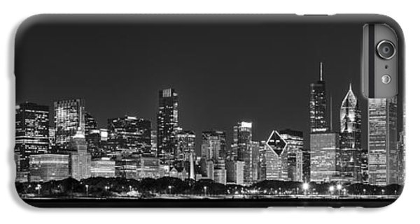 Hancock Building iPhone 6s Plus Case - Chicago Skyline At Night Black And White Panoramic by Adam Romanowicz