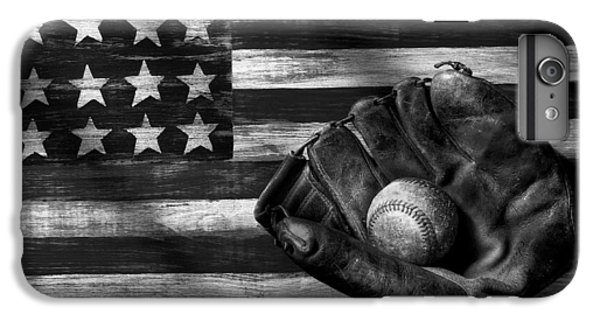Folk Art American Flag And Baseball Mitt Black And White IPhone 6s Plus Case by Garry Gay