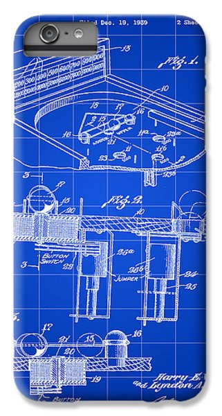 Pinball Machine Patent 1939 - Blue IPhone 6s Plus Case by Stephen Younts