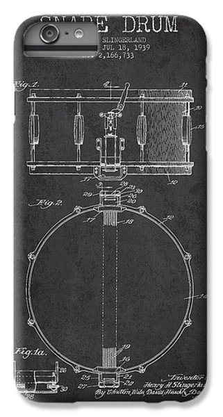 Drum iPhone 6s Plus Case - Snare Drum Patent Drawing From 1939 - Dark by Aged Pixel