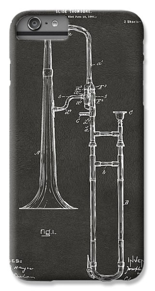 Trombone iPhone 6s Plus Case - 1902 Slide Trombone Patent Artwork - Gray by Nikki Marie Smith