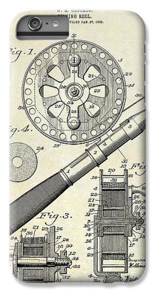 1906 Fishing Reel Patent Drawing IPhone 6s Plus Case by Jon Neidert