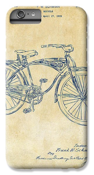 Bicycle iPhone 6s Plus Case - 1939 Schwinn Bicycle Patent Artwork Vintage by Nikki Marie Smith