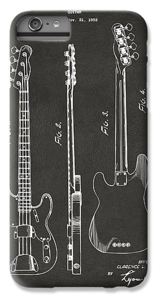 Guitar iPhone 6s Plus Case - 1953 Fender Bass Guitar Patent Artwork - Gray by Nikki Marie Smith
