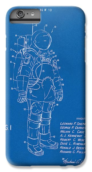 Space Ships iPhone 6s Plus Case - 1973 Space Suit Patent Inventors Artwork - Blueprint by Nikki Marie Smith