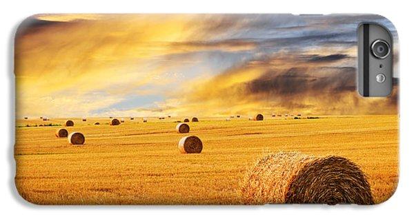 Golden Gate Bridge iPhone 6s Plus Case - Golden Sunset Over Farm Field With Hay Bales by Elena Elisseeva