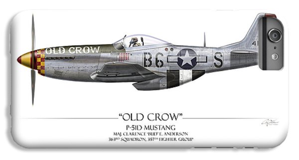 Airplane iPhone 6s Plus Case - Old Crow P-51 Mustang - White Background by Craig Tinder