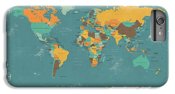 Retro Political Map Of The World IPhone 6s Plus Case by Michael Tompsett