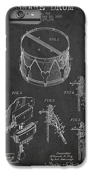 Drum iPhone 6s Plus Case - Vintage Snare Drum Patent Drawing From 1889 - Dark by Aged Pixel
